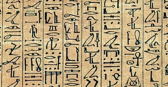 hieroglyfy - Aniho papyrus, zdroj Wikipedia, licence obrázku public domain