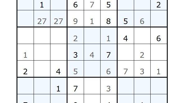sudoku, screenshot http://sudokuonline.cz/
